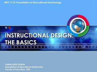 INSTRUCTIONAL DESIGN:  THE BASICS
