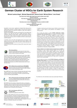 German Cluster of WDCs for Earth System Research - Entwurf -