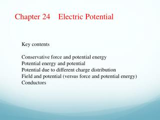 Chapter 24    Electric Potential
