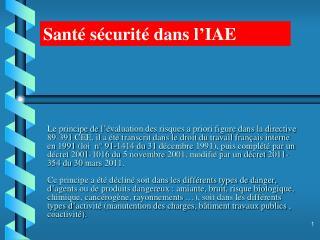Santé sécurité dans l'IAE