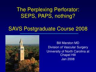 The Perplexing Perforator: SEPS, PAPS, nothing? SAVS Postgraduate Course 2008