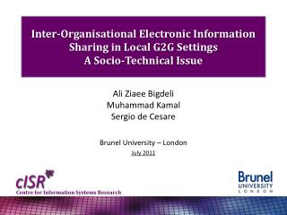 Ali Ziaee Bigdeli Muhammad Kamal Sergio de  Cesare Brunel University – London July 2011