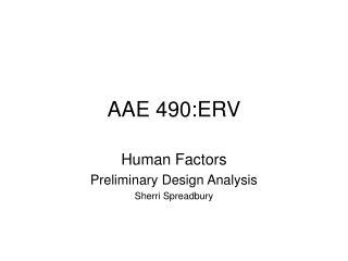 AAE 490:ERV