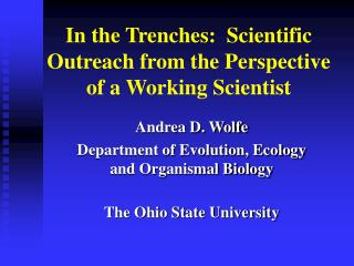 In the Trenches:  Scientific Outreach from the Perspective of a Working Scientist