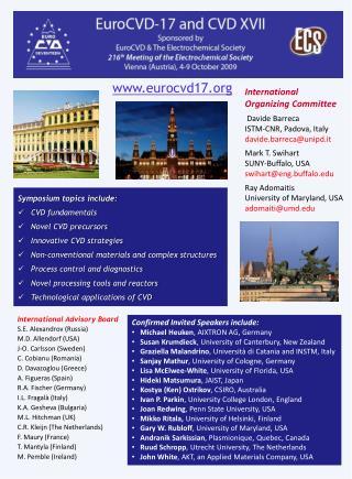 International Advisory Board S.E. Alexandrov (Russia) M.D. Allendorf (USA) J-O. Carlsson (Sweden)