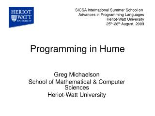 Programming in Hume