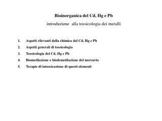 Bioinorganica del Cd, Hg e Pb