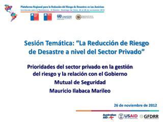 """Sesión Temática: """"La Reducción de Riesgo de Desastre a nivel del Sector Privado"""""""