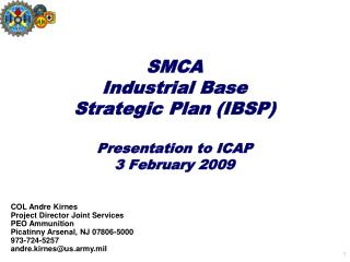 SMCA  Industrial Base  Strategic Plan IBSP  Presentation to ICAP 3 February 2009