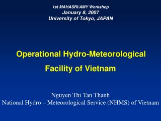 Operational Hydro-Meteorological Facility of Vietnam Nguyen Thi Tan Thanh
