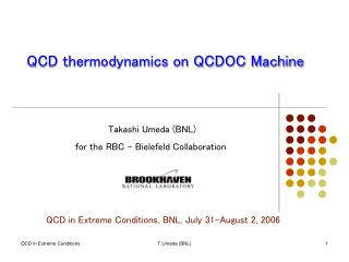 QCD thermodynamics on QCDOC Machine