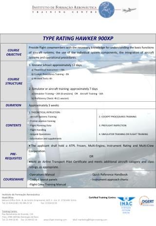 TYPE RATING HAWKER 900XP