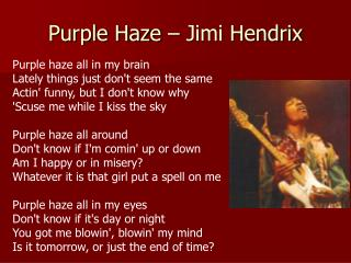 Purple Haze – Jimi Hendrix