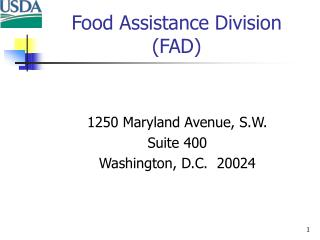 Food Assistance Division (FAD)