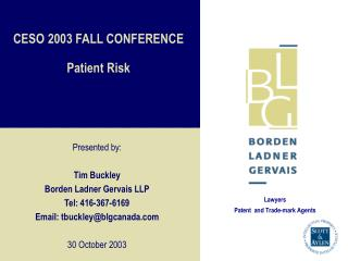 CESO 2003 FALL CONFERENCE Patient Risk