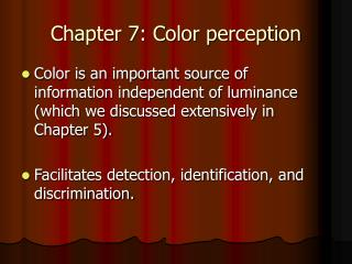Chapter 7: Color perception