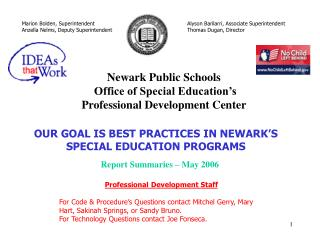 Newark Public Schools  Office of Special Education�s  Professional Development Center