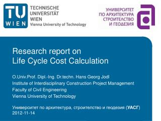 Research report on Life Cycle Cost Calculation