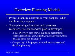 Overview Planning Models