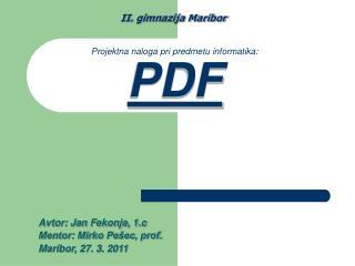 Projektna naloga pri predmetu informatika: PDF