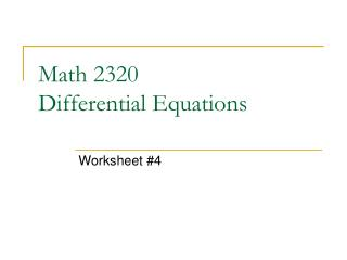 Math 2320 Differential Equations