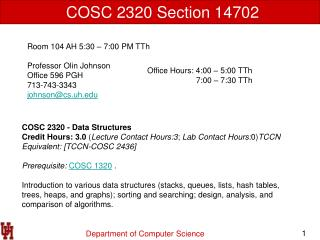 COSC 2320 Section 14702