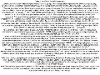 Jakarta Mustahil Jadi Pusat Gempa
