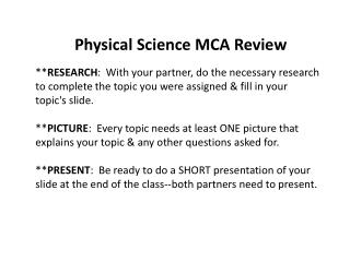 Physical Science  MCA Review