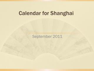 Calendar for Shanghai