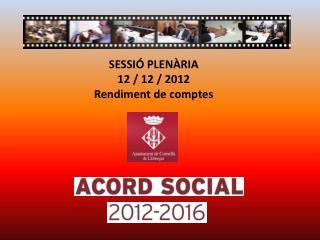 SESSIÓ PLENÀRIA  12 / 12 / 2012 Rendiment de comptes