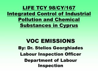 LIFE TCY 98/CY/167 Integrated Control of Industrial Pollution and Chemical Substances in Cyprus