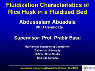Fluidization Characteristics of Rice Husk in a Fluidized Bed
