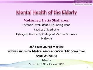 Mohamed Hatta Shaharom  Forensic Psychiatrist & Founding Dean Faculty of Medicine
