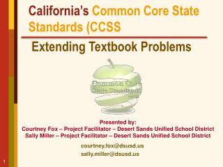 California's Common Core State Standards (CCSS  Extending Textbook Problems