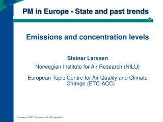 PM in Europe - State and past trends