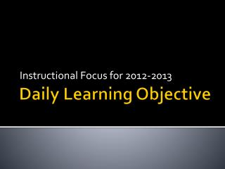 Daily Learning Objective