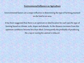 Environmental Influence on Agriculture