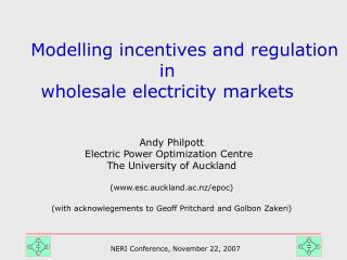 Modelling incentives and regulation  in  wholesale electricity markets