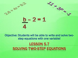 Lesson 5.7 Solving Two-Step Equations