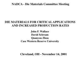 NADCA - Die Materials Committee Meeting