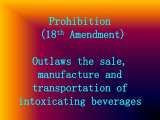 Introduction to Prohibition