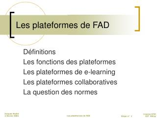 Les plateformes de FAD