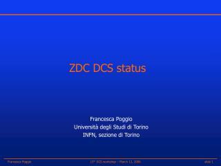 ZDC DCS status