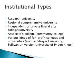 Institutional Types