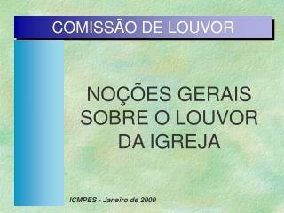 COMISSÃO DE LOUVOR