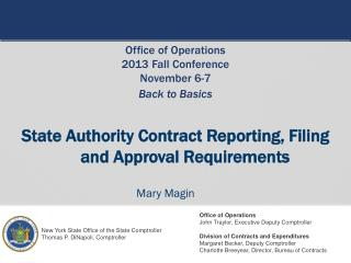 State Authority Contract Reporting, Filing  and Approval Requirements
