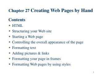 Chapter 27  Creating Web Pages by Hand