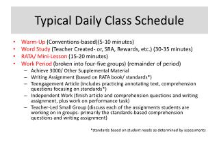 Typical Daily Class Schedule