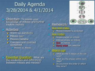 Daily Agenda 3/28/2014 & 4/1/2014