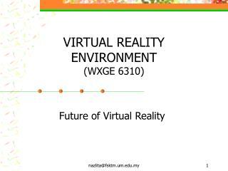 VIRTUAL REALITY ENVIRONMENT  (WXGE 6310)